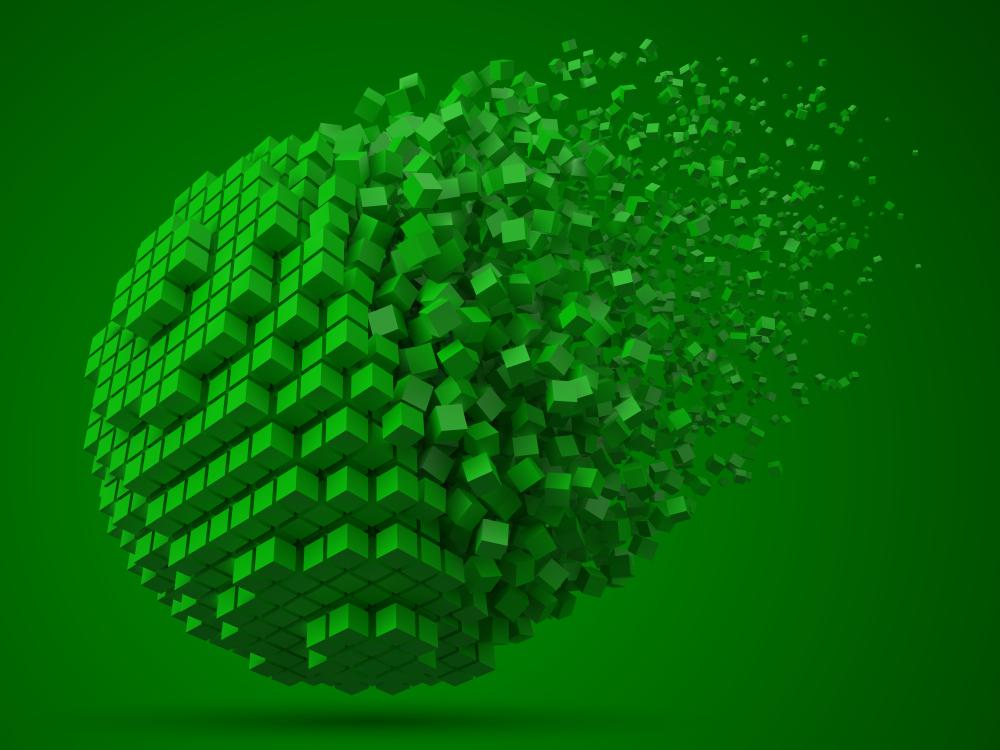 Green Block Disintegrating in Chains